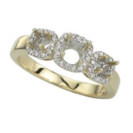 14K Yellow Gold 3-Stone Yellow Gold Diamond Bridal Ring