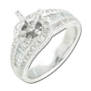 Round and Baguette Women's Diamond Engagement Ring - White Gold