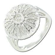 14K White Gold Dome Shaped Diamond Ring