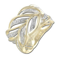 Double Leaf Pattern Diamond Ring - Yellow Gold