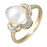 14K Yellow Gold Fresh Water Pearl With Diamonds Ring