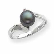 14k White Gold 7mm Black Pearl Ring