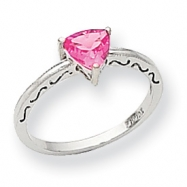 10k White Gold Created Pink Sapphire Ring