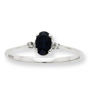 10k White Gold Polished Geniune Diamond & Sapphire Birthstone Ring