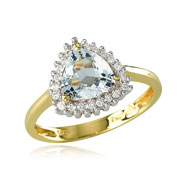 14K Yellow Gold Diamond Trimmed Trillion-Cut Aquamarine Ring. The item is available for back order o