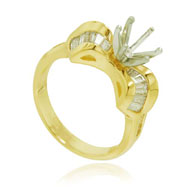 14K Yellow Gold Diamond Semi-Mount Ring
