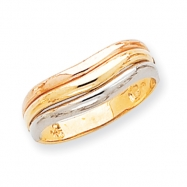 14k Tri-color Polished Triple Band Dome Ring