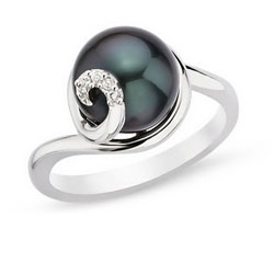 9-10MM CULTURED BLACK PEARL AND DIAMOND STERLING SILVER RING