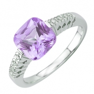Amethyst Round Diamond Ring - White Gold