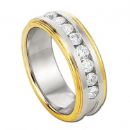 14KT Two Tone Round Diamond Wedding Band