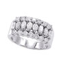18K White Gold Marquise 1.27ct Diamond Triple Row Ring SI1-SI2 G-H