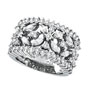 18K White Gold 2.34 Diamond Floral Burst Ring SI1-SI2 G-H