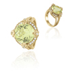 14K Yellow Gold Lemon Quartz And Diamond Ring