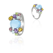 14K White Gold Garnet, Amethyst, Blue Topaz, Peridot, Citrine And Diamond Ring