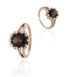 14K Rose Gold Smokey Quartz  And Diamond Ring