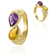 14K Yellow Gold Amethyst & Citrine Ring