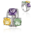14K White Gold Amethyst, Citrine & Diamonds Ring