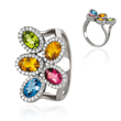 14K White Gold Citrine, Peridot, Topaz & Tourmaline  Ring
