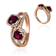14K Rose Gold Tourmaline & Diamond  Ring