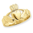 14K Gold Mens Claddaugh Ring