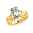 14k Two-tone Polished Claddagh Ring