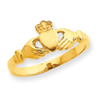 14K Gold Polished & Satin Claddagh Ring