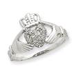 14k White Gold .01ct Diamond Claddagh Ring