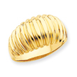 14K Gold High Polished Ribbed Dome Ring