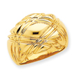 14K Gold High Polished Quilted Dome Ring