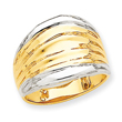 14K Gold & Rhodium Fancy Dome Ring