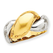 14K Two-Tone Gold Polished Dome Ring