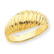 14K Gold Polished Scalloped Dome Ring