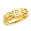 14K Gold Polished Fancy Greek Key Band Ring