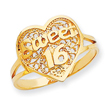 14K Gold Sweet 16 Heart Ring