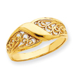 14K Gold Polished Filigree Ring