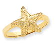 14K Gold Polished Starfish Ring
