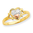 14K Two-tone Gold & Rhodium Love Heart Ring