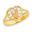 14K Two-tone Gold Diamond Cut 15 Heart Ring