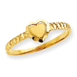 14K Gold Satin & Diamond Cut Heart Ring
