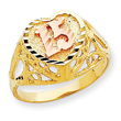 14K Two-tone Gold 15 Heart Ring