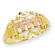 14K Two-tone Gold Polished Mama Ring
