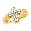 14K Gold & Rhodium Diamond Cross Ring