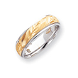 14k Two-Tone Gold 6mm  Design-Etched Wedding Band