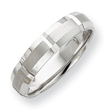14k White Gold 5mm Grooved Brushed And Polished Wedding Band