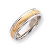 14k Two-Tone 6mm Design-Etched Wedding Band