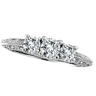 18K White Gold Three Stone 1.13ct Diamond Wedding Anniversary Ring SI2 H-I
