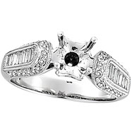 18K White Gold .80ct Diamond Semi Mount Mounting Antique Style Ring Setting SI1-SI2 G-H