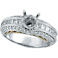 18K White Gold 1.1ct Diamond Semi Mount Antique Style Setting SI1-SI2 G-H