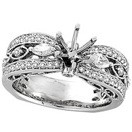 18K White Gold .60ct Diamond Semi Mount Antique Style Setting SI1-SI2 G-H