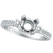 18K White Gold .55ct Diamond Semi Mount Antique Style Ring Setting SI1-SI2 G-H